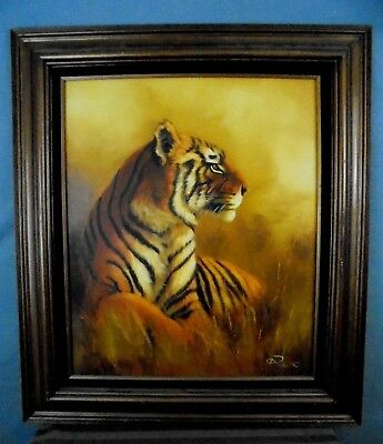 "Large Vintage Rex Framed Asian Bengal Tiger Wildlife Oil Painting 28"" x 32"" WOW!"