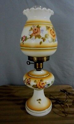 Vintage Victorian Gone With The Wind Hurricane Style 3 Way Parlor Table Lamp