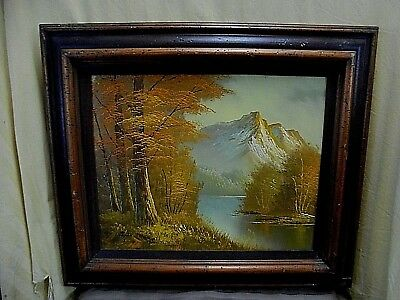 "Vintage Signed Antonio Mountain & Stream Landscape Oil Painting 28"" x 24"""