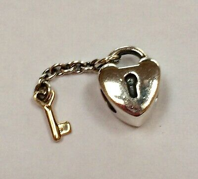 4c9d00a247849 AUTHENTIC PANDORA ALE Sterling Silver 14K Gold Lock Key To My Heart ...