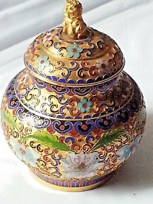Vintage Chinese Handmade Cloisonne Enamel Jar Vase With Lid And Stand