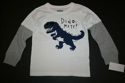 New OshKosh Boys 5T Top Dino Mite Dinosaur T Rex wears Sunglasses Long Sleeves