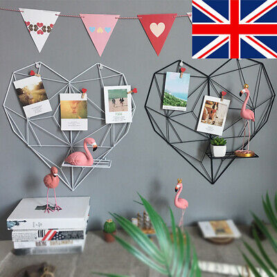 Metal Wire Heart Shaped Floating Wall Storage Mount Shelf Unit Ornaments Display