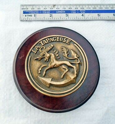 Vintage Solid Cast Brass Ships Plaque or Tompion French P400 Patrol La TAPAGEUSE