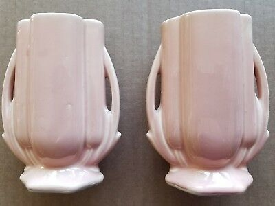 Pair of Vintage 1940's McCoy USA Vases Pink with Handles Art Deco