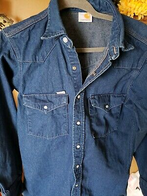 d18aea98081 Vintage Carhartt Denim Jean Western Shirt Pearl Snap Buttons Workwear medium
