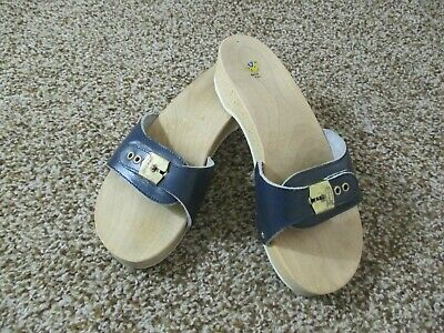 Dr Scholl's Original Leather & Wooden Sandals Shoes Sz 8 Navy Blue Made In Italy