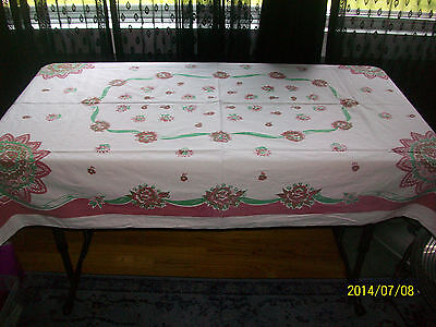 "Vintage Tablecloth Floral Bouquet Fan Ribbon Red Green 1940s 41"" x 63"" Christmas"