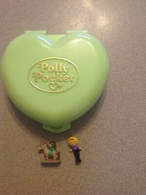 Vintage Blue Bird Polly Pocket Pony Club Complete With Figures Horse Green Compa
