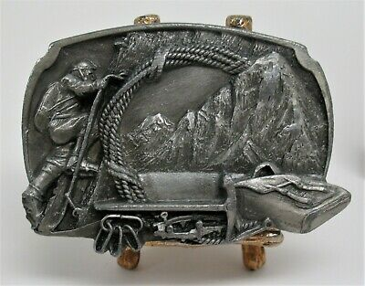 Vintage Solid Pewter Belt Buckle Mountain Climbing ~ Siskiyou Buckle Co. Oregon