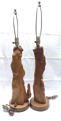 2 Vintage Mid Century Cyprus Wood Root Primitive Table Lamps Pair End Table