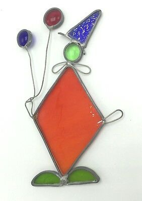 Vintage Tiffany Stained Glass Sun Catcher Large Clown With Balloons Hand Crafted