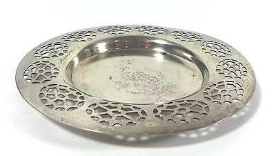 Vintage Silverplate Decorative Coaster Champagne Wine Bottle Wm A Rogers Signed