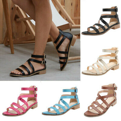 2bf3ec1dd Womens Strappy Gladiator Sandals Ladies Summer Buckle Flats Low Heel Shoes