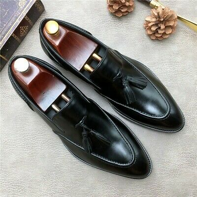 Mens 2019 Leisure Pointed Toe Tassel Pull On Loafers Retro Business Formal Shoes