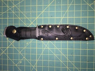 "Sheath Snake LH Hand Carved Leather Fits up to 7""X1 1/4"" blade Knife"
