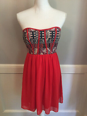 YA Los Angeles Sz S Red Silk and Aztec Tribal Embroidered Strapless Dress LIKENU