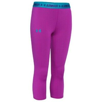 UNDER ARMOUR JUNIOR HEATGEAR ARMOUR SOLID CAPRI LEGGINGS blue or pink all sizes