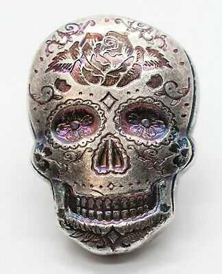 2 oz Poured Silver Day of the Dead Sugar Skull 999 Ag Art Bar Round 777
