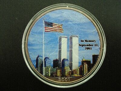 2001 Colorized American Eagle $1 Silver Dollar 1 oz Bullion Coin TWIN TOWERS