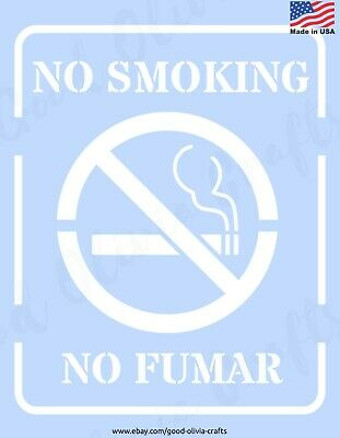 "NO SMOKING Sign Reusable Stencil Clear Template 8"" - DIY CRAFTS SPRAY PAINT"