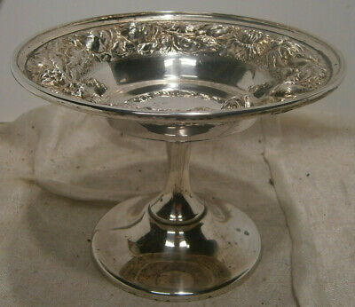 antique Stieff Rose Sterling Silver Compote candy dish reprousse 126-x