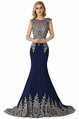 d875dcceef MisShow Embroidery Lace Long Mermaid Formal Evening Prom DressesNavySize 14