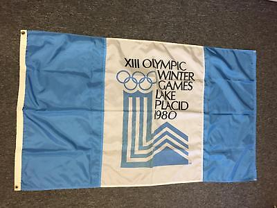 Lake Placid 1980 XIII Olympic Winter Games Blue White Vintage Flag Banner