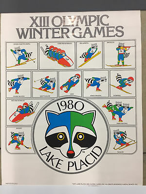 Lake Placid XIII Olympic 1980 Winter Games Ronni Raccoon Vintage Event Poster