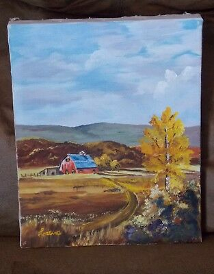 Folk Art Oil On Canvas Painting Barn Rural Landscape 8X10 Signed See Photos