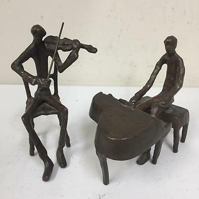 SF Trading Brass or Bronze Musician Figure Pair Table Art Pianist Violinist