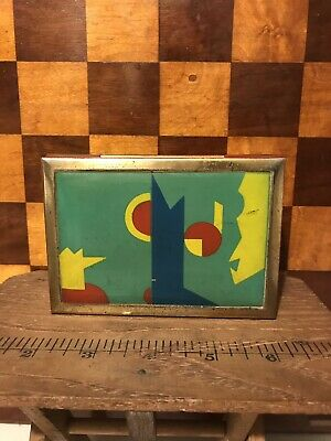 Original German Bauhaus Avantgarde Art Deco 1920 Metal Box Cigarette Enamel