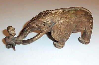 "West African Brass Casting - ""ELEPHANT trunk wrapped around human body"" VINTAGE"