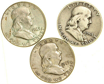 US 1953 + 1957 + 1963 Franklin 50 Cents Silver
