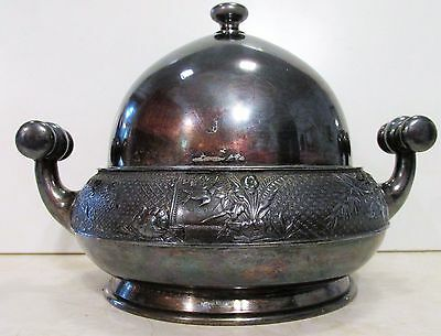 Antique Meriden Silver Plate Co. Quadruple Plate Butter Dish in VG Condition