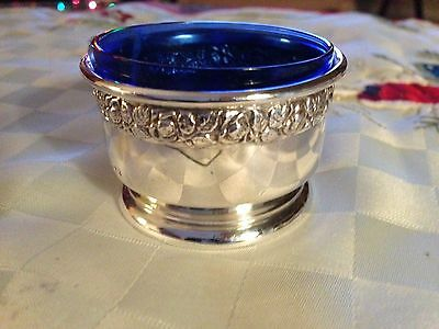 Antique Sterling Silver Open Salt Cellar with Cobalt Blue Glass liner by Wallace
