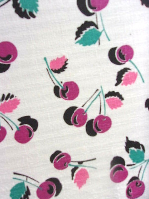 Vintage remnants abstract cherry purple barkcloth white cotton fabric cherries!