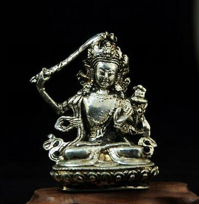 chinese old handmade cooper-plating silver guanyin sculpture statue