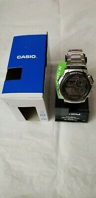 Casio Men's Quartz World Time Illuminator Silver-Tone 44Mm Watch Ae1000wd-1Av