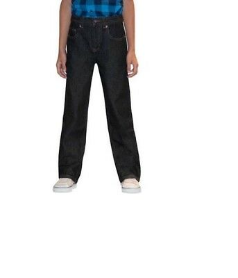Faded Glory Boys' Relaxed Fit Jeans Adjustable Waist Black Denim Size 12 Reg NEW