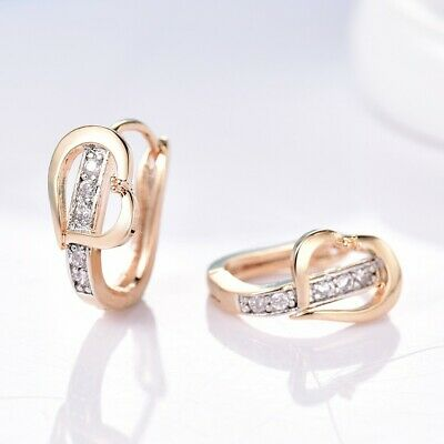 Fashion Ladies Wedding Party White Sapphire Crystal Two Gold Tone Hoop Earrings