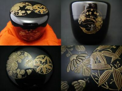 Japanese Lacquer Wooden Tea caddy FLOWER CIRCLE design makie Chu-Natsume (405)