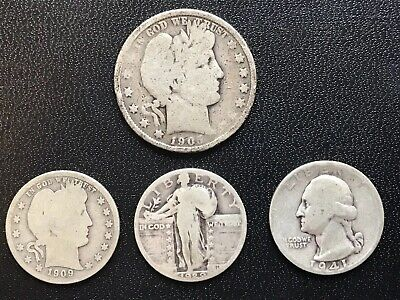 $1.25 Face value- 90% Silver US Coins:50c Barber, 25c Barber, Stand Lib & Wash