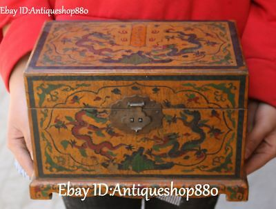 """10"""" China Wood lacquerware Dragon Loong Beast Jewelry Casket Coffin Box Statue"""