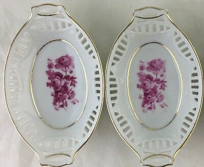 Antique Small Dish Pair Gold Rim Cut Out,pink Flower Bouquet Germany Made