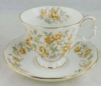 Vintage Royal Albert Cup Saucer Set Orange Taffeta Rose Flower Gold Rim
