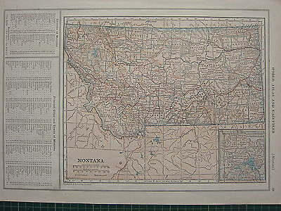 1926 Map ~ Montana Principal Cities Towns Counties Alma Addy Dell Alder