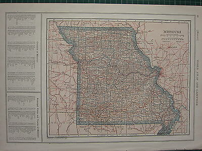 1926 Map ~ Missouri Principal Cities Towns Iron Knox Cole Cooper Clay Macon