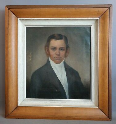 Antique 19thC American YOUNG GENTLEMAN Old NC ESTATE Oil PORTRAIT PAINTING FRAME