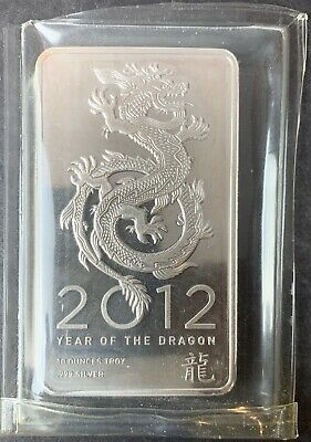 10 troy oz.  ounces .999 fine silver bar...Year of the Dragon 2012...Rare.